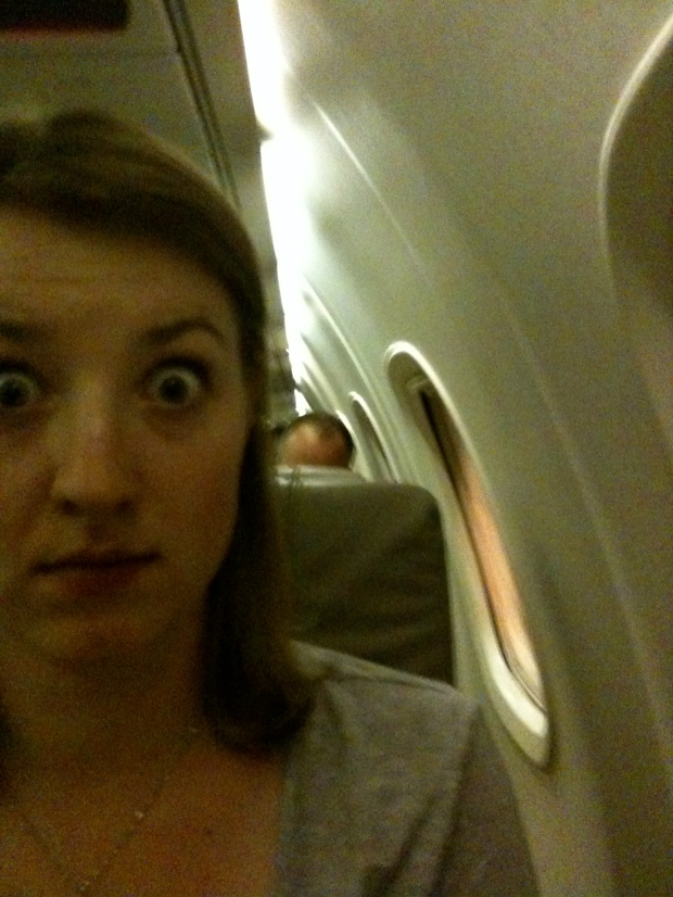 Megan totally scared of flying in little planes.