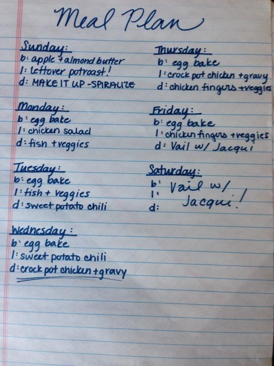 Meal Plan  - Week 3.5